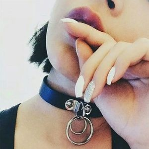 Jewelry - Door Knocker Double O-Ring Goth Choker Necklace